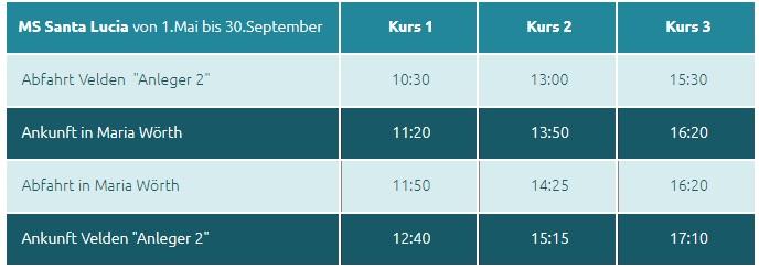 Wörthersee Velden Fahrplan 1. Mai bis 30. September