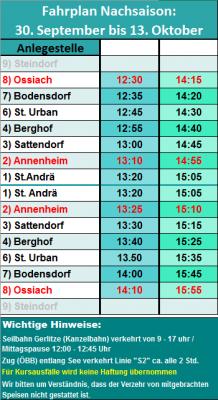 Fahrplan Ossiachersee Nachsaison